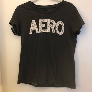 Aeropostale Charcoal Tee with White Aero Lettering